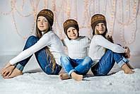 """Шапка-шлем из шерсти мериноса СОФИЯ (размер 46-48-50, коричневый с орнаментом """"снежинки"""")"""