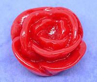 Кабошон Цветок, Роза, Смола, Красный, 15 mm x 7 mm, Фурнитура для изготовления бижутерии