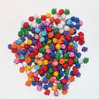 """Помпоны разноцветные """"ёжики-2""""  код 735 упаковка 10 шт."""