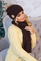 Комплект шапка с бубоном + шарф (разные цвета)
