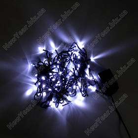 Гирлянда домашняя, 100 светодиодов, 7 метров, белый свет, черный провод