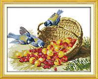 Вышивка крестиком Птицы и фрукты