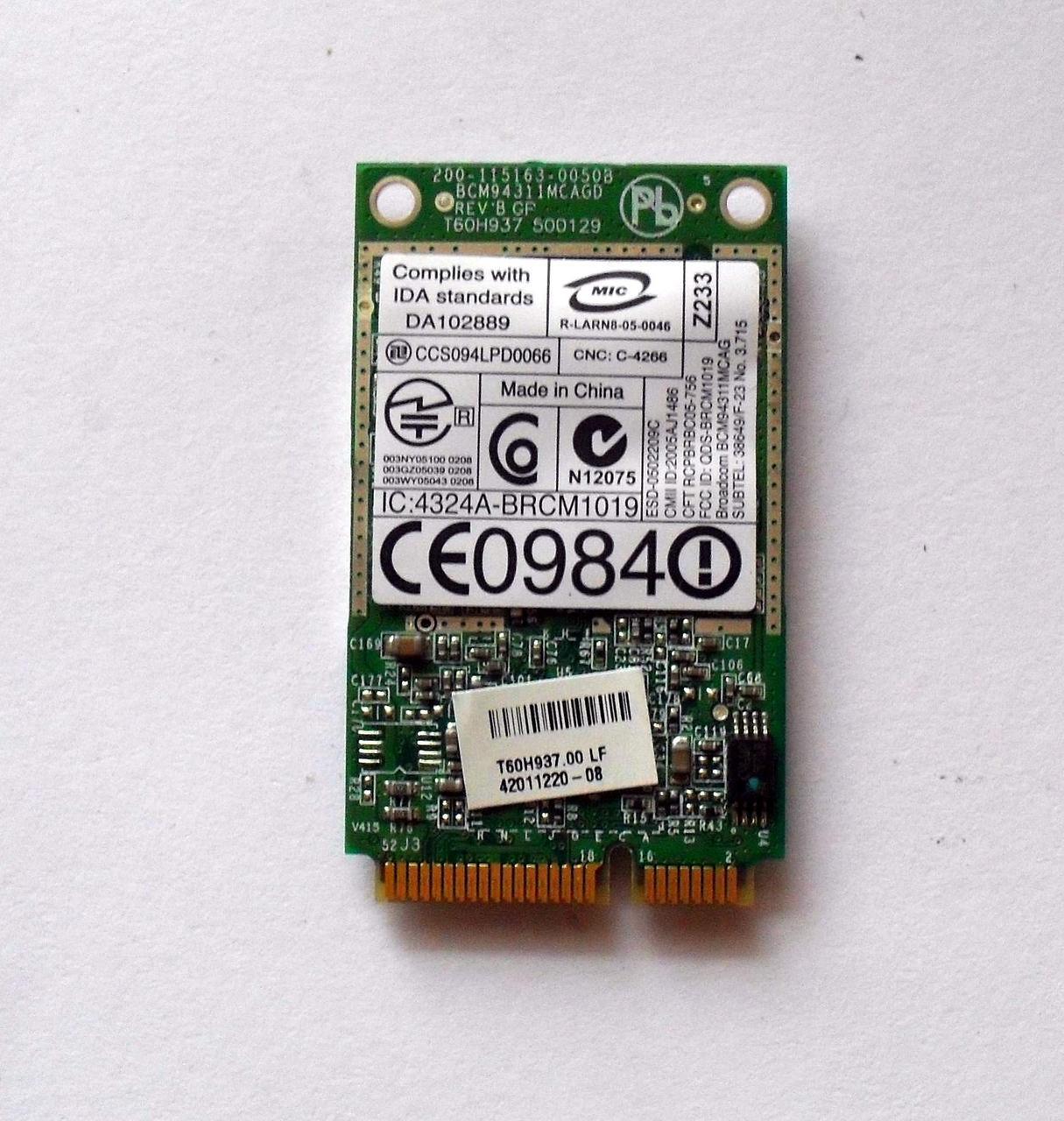 272 Wi-Fi Dell Wireless 1490 - Broadcom BCM94311MCAG 802.11 b/g Mini-PCI Express 54 Mbps модуль для ноутбука