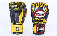Перчатки боксерские кожаные TWINS PROFESSIONAL  FBGV-31-BK (черно-золотистый)