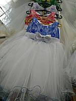 Платье для девочек модное с ажурным цветным лифом
