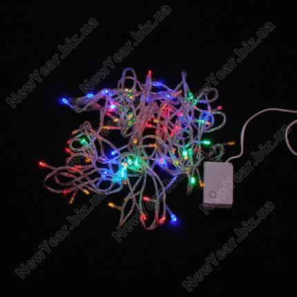 Гирлянда домашняя, 100 светодиодов, 7 метров, многоцветная, белый провод, фото 2
