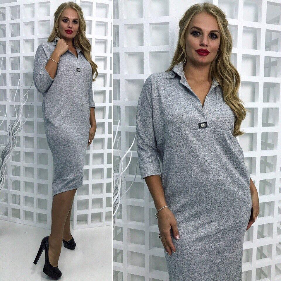 a6ac8f3cf01 Купить Платье ангору батала серое длинное оптом и в розницу от ...