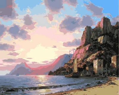 """VP860. Раскраска по номерам """"Закат у моря"""", фото 2"""