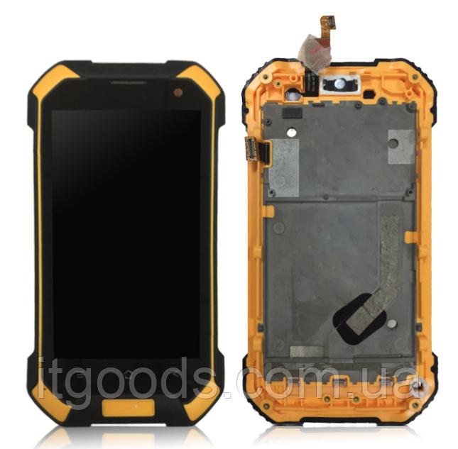 Оригинальный дисплей (модуль) + тачскрин (сенсор) с оранжевой рамкой д