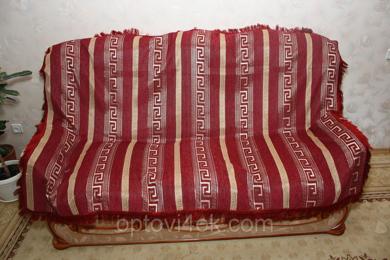 Комплект покрывала (дивандеки) Египет красный на большую кровать и два кресла евроразмера