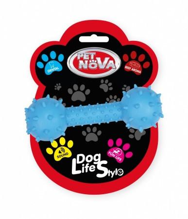 Игрушка для собак Гантель со звуком Pet Nova 14 см синий