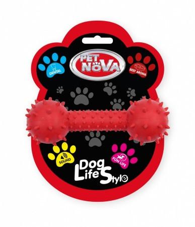 Игрушка для собак Гантель со звуком Pet Nova 14 см красный