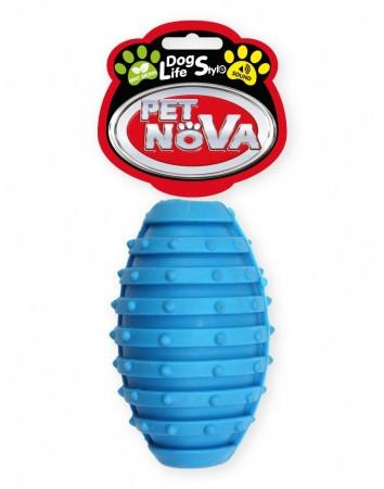 Игрушка для собак Мяч регби с колокольчиком Pet Nova 10 см синий