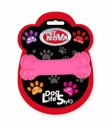 Игрушка для собак Кость кормушка Pet Nova 11 см розовая