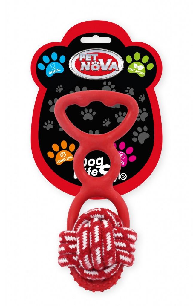 Игрушка для собак Веревочный шар с резиновой ручкой Pet Nova 20 см красный