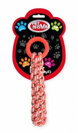 Игрушка для собак Канат вязанный с кольцом Pet Nova 30 см оранжевый