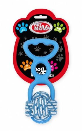 Игрушка для собак Веревочный шар с резиновой ручкой Pet Nova 20 см синий