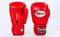 Перчатки боксерские кожаные на липучке TWINS BGVL-3-RD-12