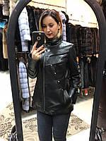 Удлиненная Куртка Кожаная с Замшевыми Полосами 010МК