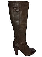 Кожаные сапоги женские демисезонные на каблуке Kati 51007