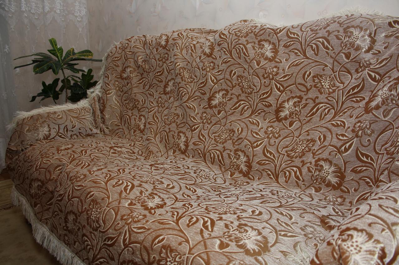 Дивандеки на большой диван и два кресла Орхидея с белым