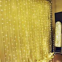 Светодиодная гирлянда штора/занавес( 320 LED) 2х2 м, цвет: тёплый белый