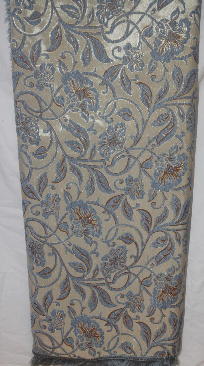 Дивандеки на большой диван и два кресла Орхидея голубой