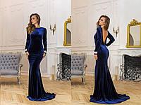 Женское платье в пол синего цвета из ткани королевский бархат