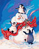 MR-Q2141. Набор-раскраска по номерам Пингвинчики и снеговик