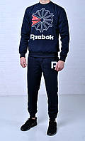 Спортивный костюм Reebok (рибок), мужской, синий реплика