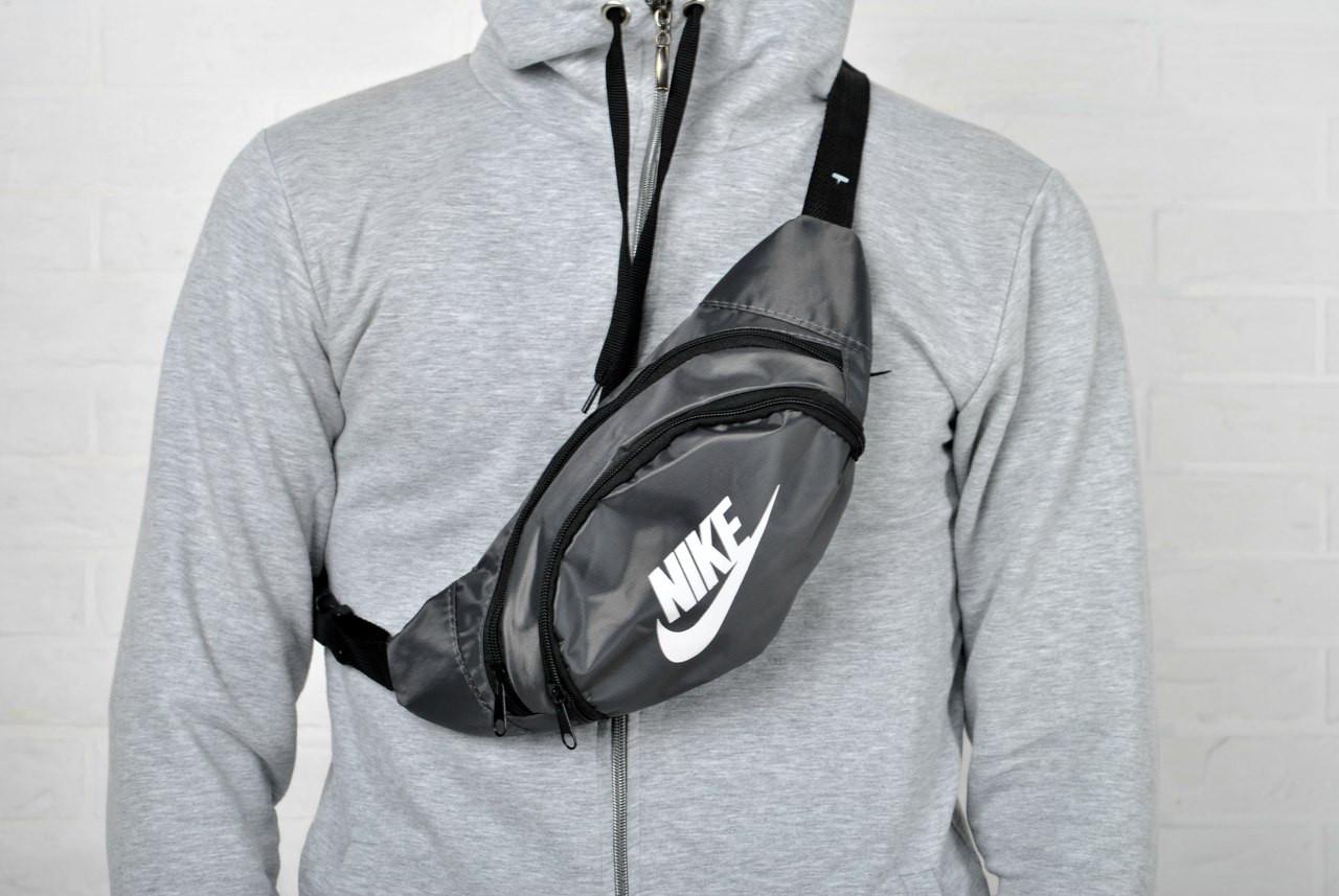 80a8f15c2542 Поясная сумка, сумка - бананка найк (Nike), серая купить в интернет ...