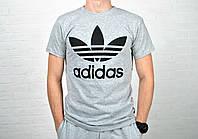 Мужская спортивная футболка адидас (Adidas), серая реплика