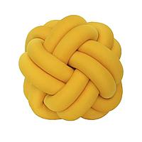 Декоративная подушка узел, горчичная 20 см