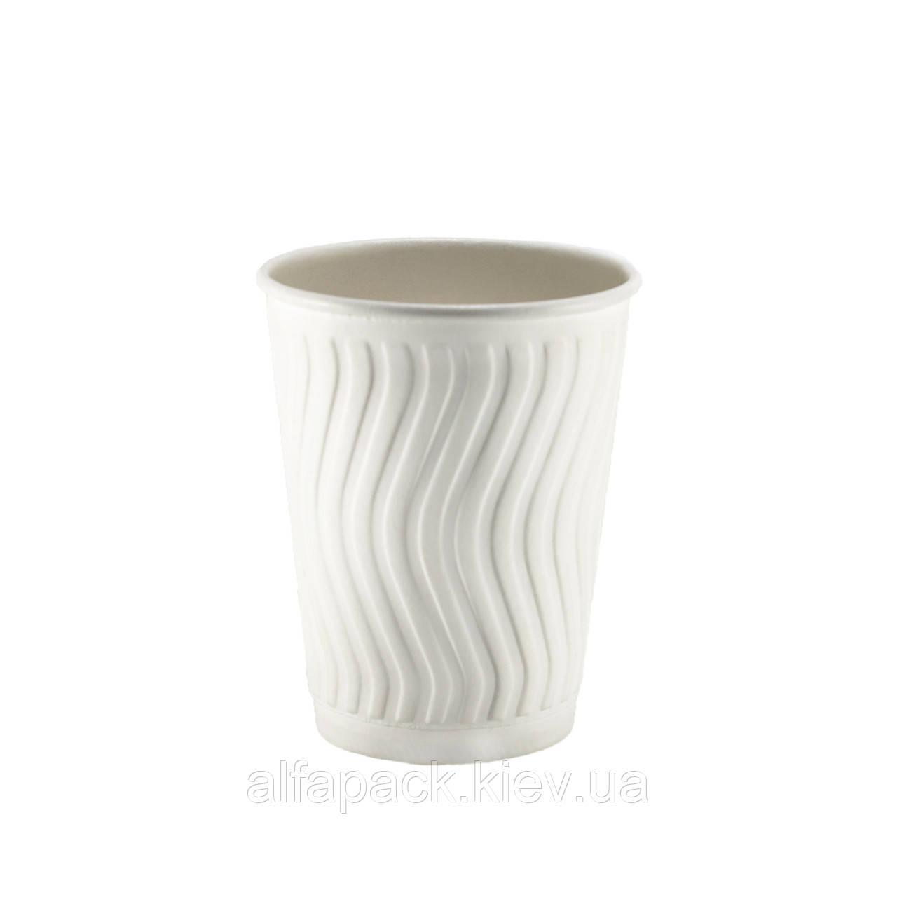 Гофрированный стакан волна белый 400 мл