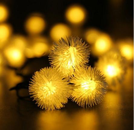 Гирлянда на солнечной батарее Праздничные огни желтые, фото 2