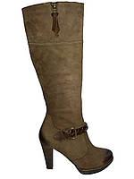 Сапоги женские кожаные демисезонные коричневые Kati 5341