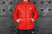 Зимняя мужская куртка/пуховик найк/Nike, красная реплика