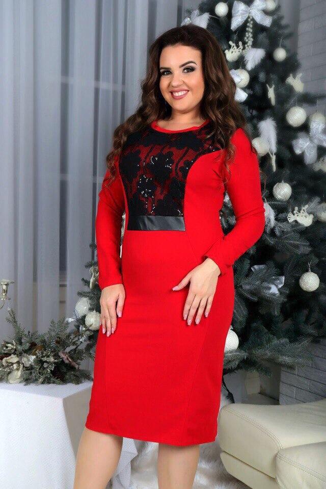 Платье с кружевом вечернее трикотаж красное