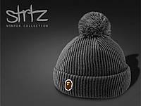 Серая шапка на осень/зиму c помпоном/бубоном Bape реплика