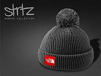 Серая стильная теплая шапка с помпоном/бубоном The North Face реплика, фото 1