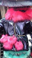 Куртка зимняя с мехом детская для девочки фиолетовая на возраст от 3х до 8 лет Knad-750e