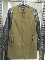 Брендовое пальто с рукавами из кожзама