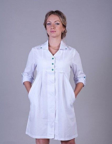 Оригинальный медицинский халат с завышенной талией