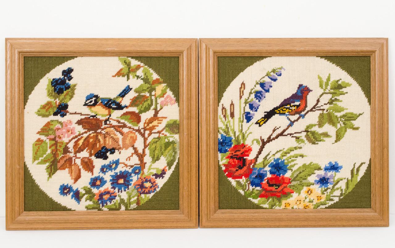 Два винтажных гобелена ручной работы, вышивка в деревянной раме, Германия, птицы