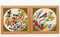 Два винтажных гобелена ручной работы, вышивка в деревянной раме, Германия, птицы, фото 1
