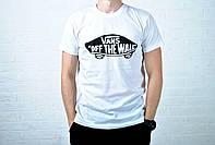 Белая мужская футболка ванс (Vans) реплика