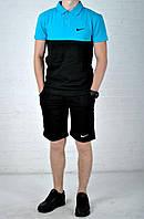 Мужская футболка с воротником и шортами найк (Nike) реплика, фото 1