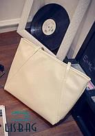 Большая, удобная женская сумка молочного цвета