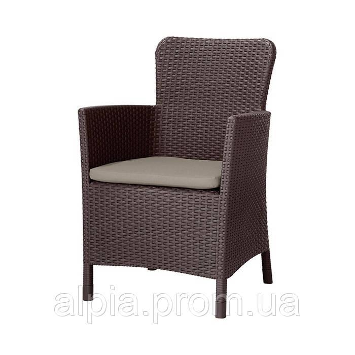 Кресло из искусственного ротанга Allibert Miami DC коричневое