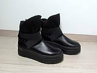 Зимние кожаные ботинки на толстой подошве